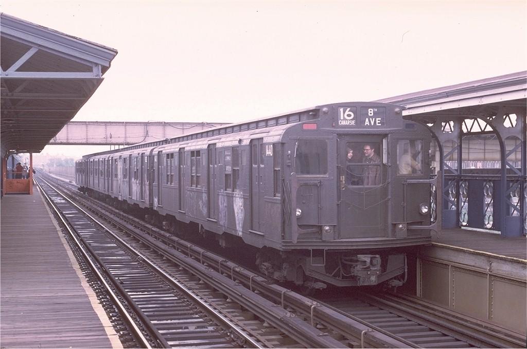 (173k, 1024x678)<br><b>Country:</b> United States<br><b>City:</b> New York<br><b>System:</b> New York City Transit<br><b>Line:</b> BMT Canarsie Line<br><b>Location:</b> Livonia Avenue <br><b>Route:</b> Fan Trip<br><b>Car:</b> R-7 (American Car & Foundry, 1937)  1440 <br><b>Photo by:</b> Joe Testagrose<br><b>Date:</b> 5/18/1975<br><b>Viewed (this week/total):</b> 4 / 3489