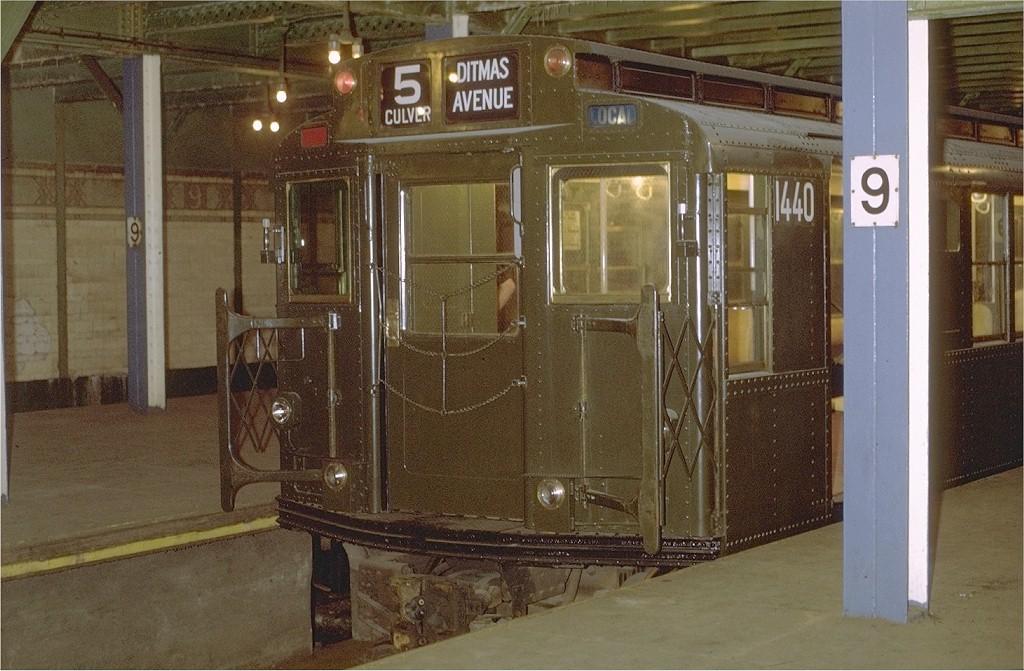 (206k, 1024x671)<br><b>Country:</b> United States<br><b>City:</b> New York<br><b>System:</b> New York City Transit<br><b>Line:</b> BMT Culver Line<br><b>Location:</b> 9th Avenue (Lower Level) <br><b>Route:</b> Culver Shuttle<br><b>Car:</b> R-7 (American Car & Foundry, 1937)  1440 <br><b>Photo by:</b> Joe Testagrose<br><b>Date:</b> 9/2/1971<br><b>Viewed (this week/total):</b> 2 / 6060