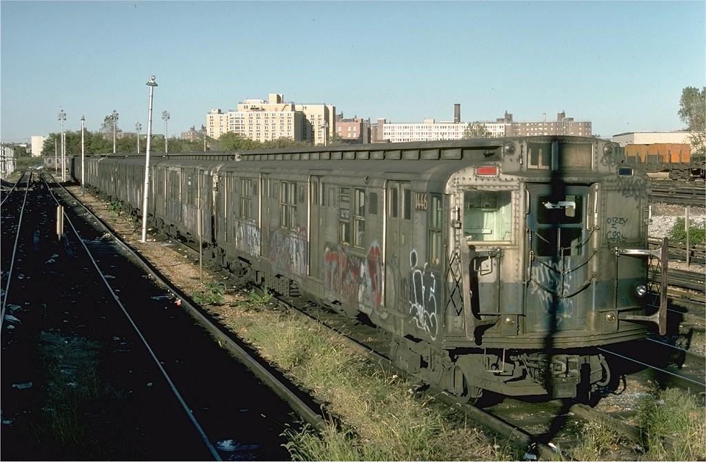 (222k, 1024x671)<br><b>Country:</b> United States<br><b>City:</b> New York<br><b>System:</b> New York City Transit<br><b>Location:</b> Rockaway Parkway (Canarsie) Yard<br><b>Car:</b> R-7 (American Car & Foundry, 1937)  1446 <br><b>Photo by:</b> Ed McKernan<br><b>Collection of:</b> Joe Testagrose<br><b>Date:</b> 10/18/1976<br><b>Viewed (this week/total):</b> 0 / 4701