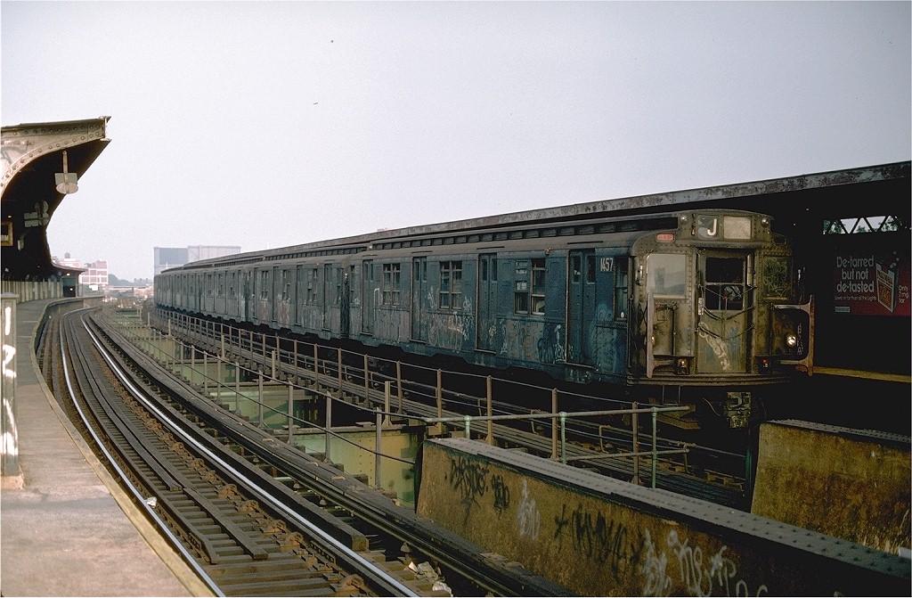 (215k, 1024x671)<br><b>Country:</b> United States<br><b>City:</b> New York<br><b>System:</b> New York City Transit<br><b>Line:</b> BMT Nassau Street/Jamaica Line<br><b>Location:</b> Queens Boulevard (Demolished) <br><b>Route:</b> J<br><b>Car:</b> R-7 (American Car & Foundry, 1937)  1457 <br><b>Photo by:</b> Ed McKernan<br><b>Collection of:</b> Joe Testagrose<br><b>Date:</b> 8/13/1976<br><b>Viewed (this week/total):</b> 0 / 5336