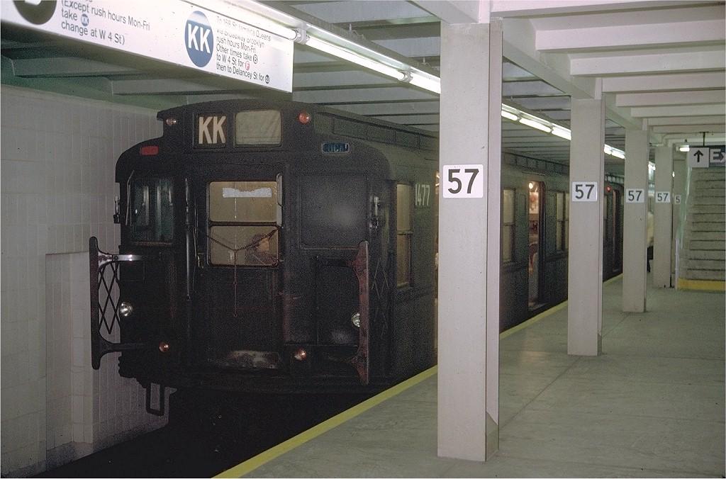 (197k, 1024x676)<br><b>Country:</b> United States<br><b>City:</b> New York<br><b>System:</b> New York City Transit<br><b>Line:</b> IND 6th Avenue Line<br><b>Location:</b> 57th Street <br><b>Route:</b> KK<br><b>Car:</b> R-7 (Pullman, 1937)  1477 <br><b>Photo by:</b> Doug Grotjahn<br><b>Collection of:</b> Joe Testagrose<br><b>Date:</b> 11/3/1970<br><b>Viewed (this week/total):</b> 2 / 4232