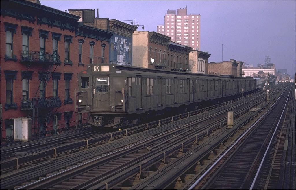 (212k, 1024x660)<br><b>Country:</b> United States<br><b>City:</b> New York<br><b>System:</b> New York City Transit<br><b>Line:</b> BMT Nassau Street/Jamaica Line<br><b>Location:</b> Hewes Street <br><b>Route:</b> KK<br><b>Car:</b> R-7 (Pullman, 1937)  1481 <br><b>Photo by:</b> Doug Grotjahn<br><b>Collection of:</b> Joe Testagrose<br><b>Date:</b> 10/1/1970<br><b>Viewed (this week/total):</b> 0 / 3108