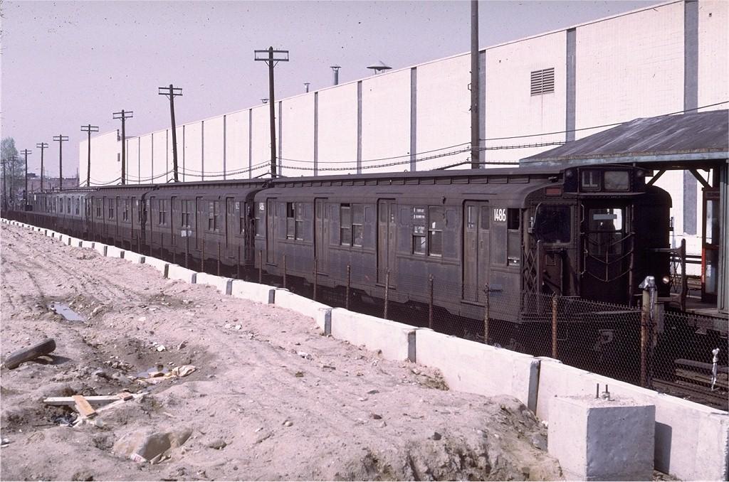 (226k, 1024x678)<br><b>Country:</b> United States<br><b>City:</b> New York<br><b>System:</b> New York City Transit<br><b>Line:</b> BMT Canarsie Line<br><b>Location:</b> East 105th Street <br><b>Route:</b> LL<br><b>Car:</b> R-7 (Pullman, 1937)  1486 <br><b>Photo by:</b> Doug Grotjahn<br><b>Collection of:</b> Joe Testagrose<br><b>Date:</b> 5/7/1972<br><b>Viewed (this week/total):</b> 1 / 3762