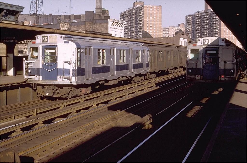 (213k, 1024x676)<br><b>Country:</b> United States<br><b>City:</b> New York<br><b>System:</b> New York City Transit<br><b>Line:</b> BMT Nassau Street/Jamaica Line<br><b>Location:</b> Hewes Street <br><b>Route:</b> KK<br><b>Car:</b> R-7 (Pullman, 1937)  1491 <br><b>Photo by:</b> Doug Grotjahn<br><b>Collection of:</b> Joe Testagrose<br><b>Date:</b> 8/23/1971<br><b>Viewed (this week/total):</b> 0 / 3083