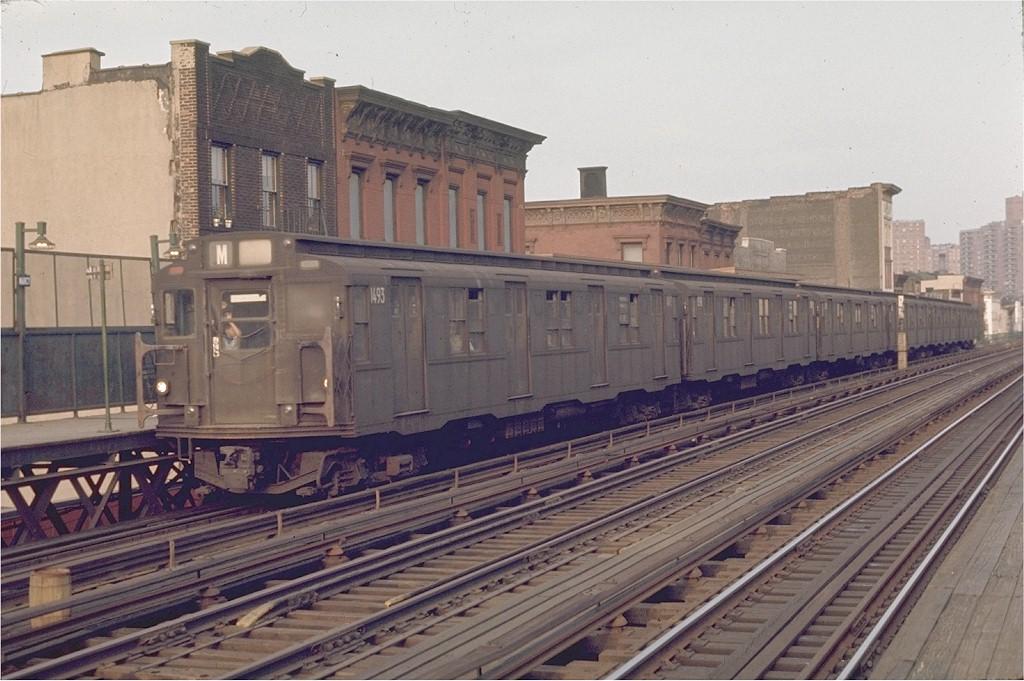 (195k, 1024x681)<br><b>Country:</b> United States<br><b>City:</b> New York<br><b>System:</b> New York City Transit<br><b>Line:</b> BMT Nassau Street/Jamaica Line<br><b>Location:</b> Marcy Avenue <br><b>Route:</b> M<br><b>Car:</b> R-7 (Pullman, 1937)  1493 <br><b>Photo by:</b> Joe Testagrose<br><b>Date:</b> 6/1/1970<br><b>Viewed (this week/total):</b> 5 / 2908