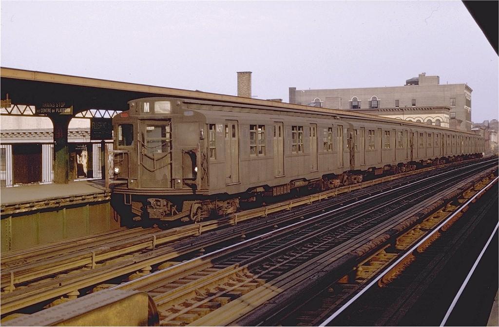 (212k, 1024x672)<br><b>Country:</b> United States<br><b>City:</b> New York<br><b>System:</b> New York City Transit<br><b>Line:</b> BMT Nassau Street/Jamaica Line<br><b>Location:</b> Flushing Avenue <br><b>Route:</b> M<br><b>Car:</b> R-7 (Pullman, 1937)  1497 <br><b>Photo by:</b> Joe Testagrose<br><b>Date:</b> 8/29/1969<br><b>Viewed (this week/total):</b> 0 / 2846