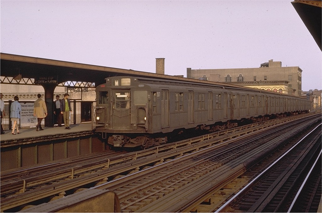 (222k, 1024x679)<br><b>Country:</b> United States<br><b>City:</b> New York<br><b>System:</b> New York City Transit<br><b>Line:</b> BMT Nassau Street/Jamaica Line<br><b>Location:</b> Flushing Avenue <br><b>Route:</b> M<br><b>Car:</b> R-7 (Pullman, 1937)  1507 <br><b>Photo by:</b> Joe Testagrose<br><b>Date:</b> 5/21/1970<br><b>Viewed (this week/total):</b> 2 / 3903