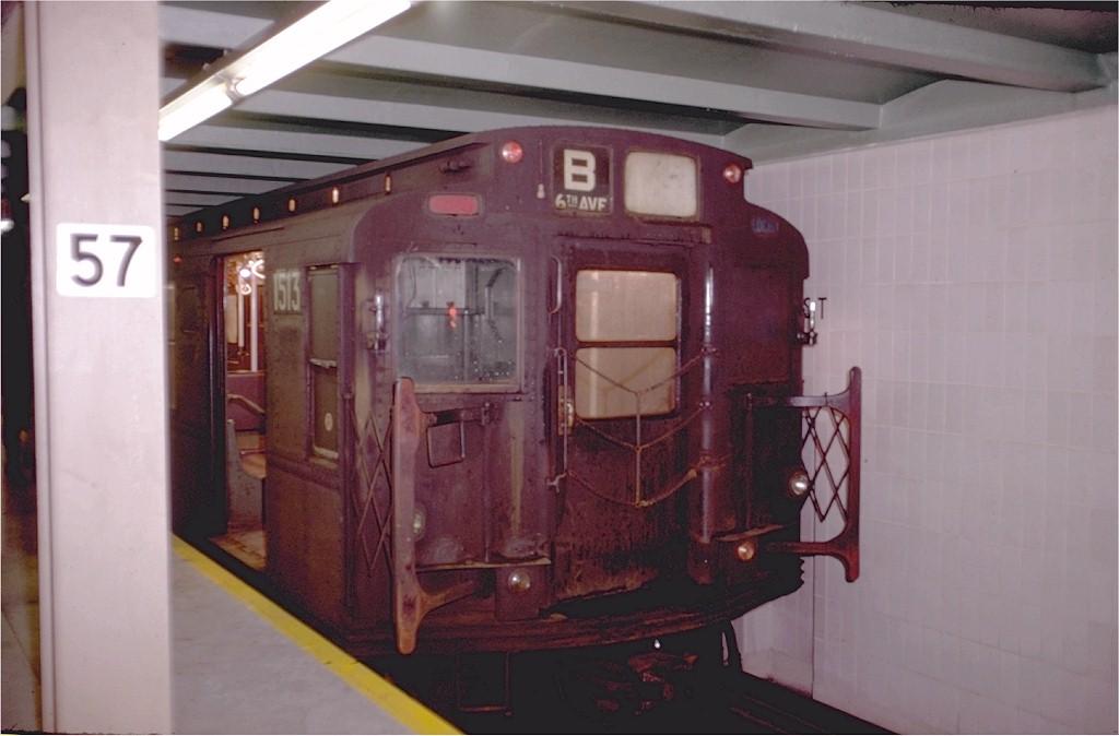 (134k, 1024x674)<br><b>Country:</b> United States<br><b>City:</b> New York<br><b>System:</b> New York City Transit<br><b>Line:</b> IND 6th Avenue Line<br><b>Location:</b> 57th Street <br><b>Route:</b> B<br><b>Car:</b> R-7 (Pullman, 1937)  1513 <br><b>Photo by:</b> Doug Grotjahn<br><b>Collection of:</b> Joe Testagrose<br><b>Date:</b> 12/31/1968<br><b>Viewed (this week/total):</b> 6 / 3500