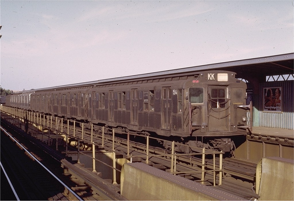 (211k, 1024x699)<br><b>Country:</b> United States<br><b>City:</b> New York<br><b>System:</b> New York City Transit<br><b>Line:</b> BMT Nassau Street/Jamaica Line<br><b>Location:</b> Cypress Hills <br><b>Route:</b> KK<br><b>Car:</b> R-7 (Pullman, 1937)  1514 <br><b>Collection of:</b> Joe Testagrose<br><b>Date:</b> 8/21/1972<br><b>Viewed (this week/total):</b> 1 / 3220