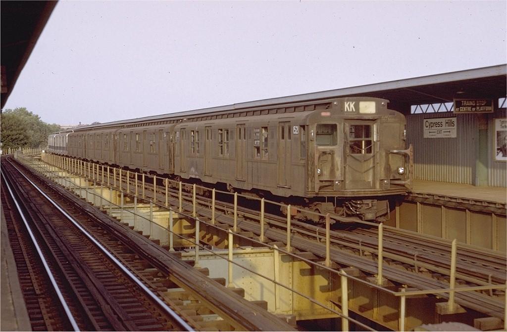 (187k, 1024x672)<br><b>Country:</b> United States<br><b>City:</b> New York<br><b>System:</b> New York City Transit<br><b>Line:</b> BMT Nassau Street/Jamaica Line<br><b>Location:</b> Cypress Hills <br><b>Route:</b> KK<br><b>Car:</b> R-7 (Pullman, 1937)  1521 <br><b>Photo by:</b> Joe Testagrose<br><b>Date:</b> 9/8/1971<br><b>Viewed (this week/total):</b> 0 / 3189