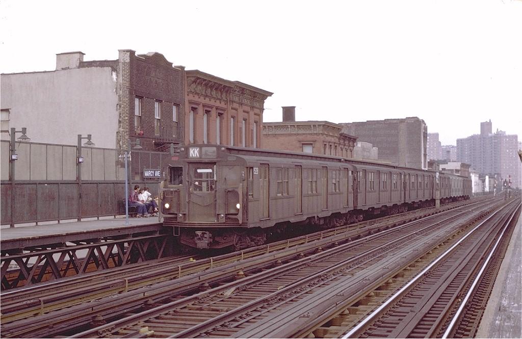 (190k, 1024x665)<br><b>Country:</b> United States<br><b>City:</b> New York<br><b>System:</b> New York City Transit<br><b>Line:</b> BMT Nassau Street/Jamaica Line<br><b>Location:</b> Marcy Avenue <br><b>Route:</b> KK<br><b>Car:</b> R-7 (Pullman, 1937)  1528 <br><b>Photo by:</b> Joe Testagrose<br><b>Date:</b> 4/9/1971<br><b>Viewed (this week/total):</b> 1 / 2806