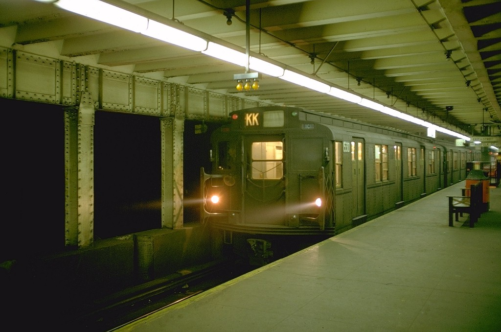(153k, 1024x678)<br><b>Country:</b> United States<br><b>City:</b> New York<br><b>System:</b> New York City Transit<br><b>Line:</b> BMT Nassau Street/Jamaica Line<br><b>Location:</b> Essex Street <br><b>Route:</b> KK<br><b>Car:</b> R-7 (Pullman, 1937)  1530 <br><b>Photo by:</b> Doug Grotjahn<br><b>Collection of:</b> Joe Testagrose<br><b>Date:</b> 10/14/1968<br><b>Viewed (this week/total):</b> 2 / 7472