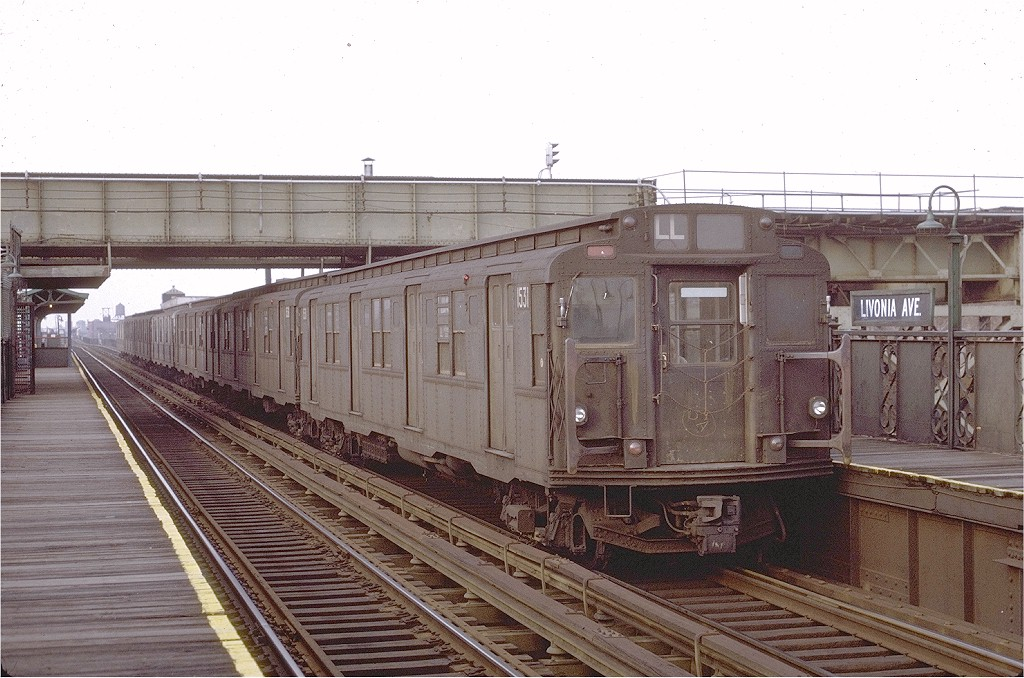 (208k, 1024x678)<br><b>Country:</b> United States<br><b>City:</b> New York<br><b>System:</b> New York City Transit<br><b>Line:</b> BMT Canarsie Line<br><b>Location:</b> Livonia Avenue <br><b>Route:</b> L<br><b>Car:</b> R-7 (Pullman, 1937)  1531 <br><b>Photo by:</b> Joe Testagrose<br><b>Date:</b> 2/27/1971<br><b>Viewed (this week/total):</b> 1 / 3053