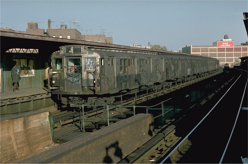 (205k, 1024x676)<br><b>Country:</b> United States<br><b>City:</b> New York<br><b>System:</b> New York City Transit<br><b>Line:</b> BMT Nassau Street/Jamaica Line<br><b>Location:</b> Sutphin Boulevard (Demolished) <br><b>Route:</b> J<br><b>Car:</b> R-7 (Pullman, 1937)  1537 <br><b>Photo by:</b> Doug Grotjahn<br><b>Collection of:</b> Joe Testagrose<br><b>Date:</b> 10/23/1976<br><b>Viewed (this week/total):</b> 0 / 4943
