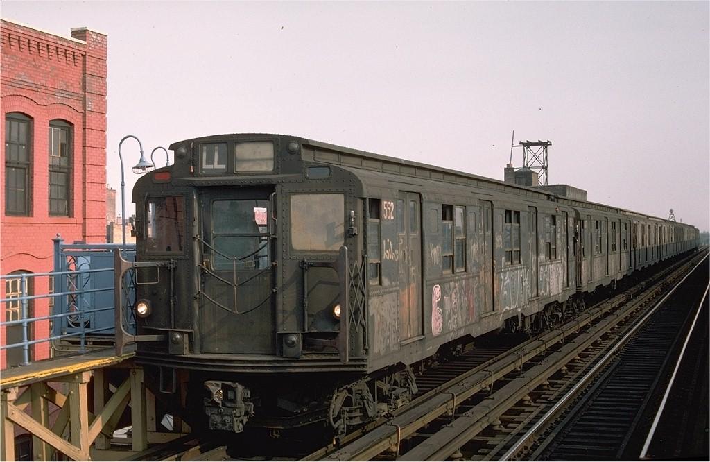 (185k, 1024x666)<br><b>Country:</b> United States<br><b>City:</b> New York<br><b>System:</b> New York City Transit<br><b>Line:</b> BMT Canarsie Line<br><b>Location:</b> Sutter Avenue <br><b>Route:</b> L<br><b>Car:</b> R-7A (Pullman, 1938)  1552 <br><b>Photo by:</b> Ed McKernan<br><b>Collection of:</b> Joe Testagrose<br><b>Date:</b> 8/12/1976<br><b>Viewed (this week/total):</b> 4 / 3794