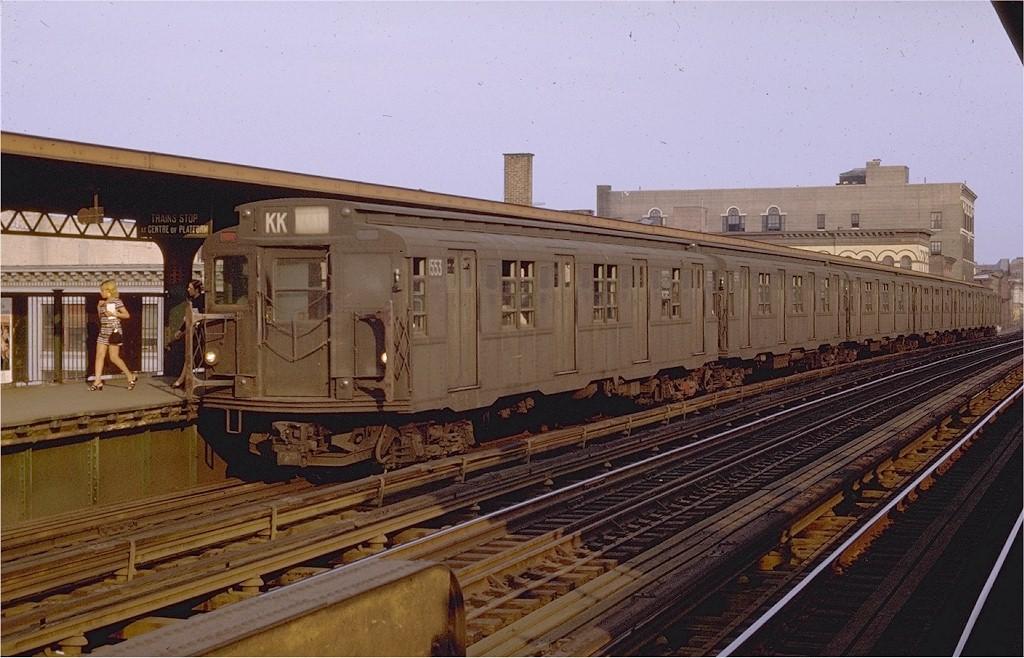 (202k, 1024x658)<br><b>Country:</b> United States<br><b>City:</b> New York<br><b>System:</b> New York City Transit<br><b>Line:</b> BMT Nassau Street/Jamaica Line<br><b>Location:</b> Flushing Avenue <br><b>Route:</b> KK<br><b>Car:</b> R-7A (Pullman, 1938)  1553 <br><b>Photo by:</b> Joe Testagrose<br><b>Date:</b> 8/29/1969<br><b>Viewed (this week/total):</b> 0 / 3267
