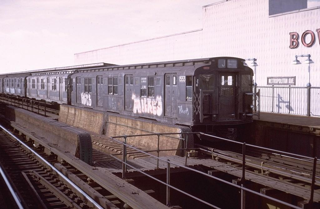 (187k, 1024x668)<br><b>Country:</b> United States<br><b>City:</b> New York<br><b>System:</b> New York City Transit<br><b>Line:</b> BMT Nassau Street/Jamaica Line<br><b>Location:</b> Metropolitan Avenue (Demolished) <br><b>Route:</b> J<br><b>Car:</b> R-7A (Pullman, 1938)  1553 <br><b>Collection of:</b> Joe Testagrose<br><b>Date:</b> 9/28/1974<br><b>Viewed (this week/total):</b> 4 / 5677