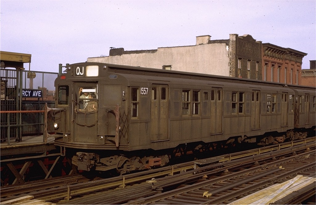 (196k, 1024x667)<br><b>Country:</b> United States<br><b>City:</b> New York<br><b>System:</b> New York City Transit<br><b>Line:</b> BMT Nassau Street/Jamaica Line<br><b>Location:</b> Marcy Avenue <br><b>Route:</b> QJ<br><b>Car:</b> R-7A (Pullman, 1938)  1557 <br><b>Photo by:</b> Joe Testagrose<br><b>Date:</b> 4/9/1971<br><b>Viewed (this week/total):</b> 2 / 2629