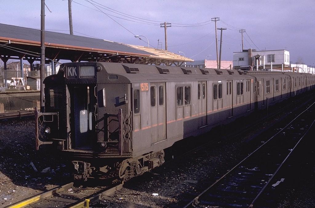 (229k, 1024x678)<br><b>Country:</b> United States<br><b>City:</b> New York<br><b>System:</b> New York City Transit<br><b>Location:</b> Rockaway Parkway (Canarsie) Yard<br><b>Car:</b> R-7A (Pullman, 1938)  1575 <br><b>Photo by:</b> Doug Grotjahn<br><b>Collection of:</b> Joe Testagrose<br><b>Date:</b> 2/21/1971<br><b>Notes:</b> R10 prototype<br><b>Viewed (this week/total):</b> 5 / 3533
