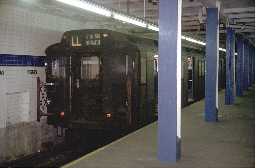 (206k, 1024x676)<br><b>Country:</b> United States<br><b>City:</b> New York<br><b>System:</b> New York City Transit<br><b>Line:</b> BMT Canarsie Line<br><b>Location:</b> 8th Avenue <br><b>Route:</b> L<br><b>Car:</b> R-7A (Pullman, 1938)  1575 <br><b>Photo by:</b> Doug Grotjahn<br><b>Collection of:</b> Joe Testagrose<br><b>Date:</b> 1/24/1971<br><b>Notes:</b> R10 prototype<br><b>Viewed (this week/total):</b> 4 / 3446