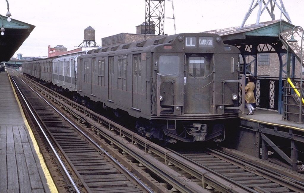 (208k, 1024x653)<br><b>Country:</b> United States<br><b>City:</b> New York<br><b>System:</b> New York City Transit<br><b>Line:</b> BMT Canarsie Line<br><b>Location:</b> Sutter Avenue <br><b>Route:</b> L<br><b>Car:</b> R-7A (Pullman, 1938)  1575 <br><b>Photo by:</b> Doug Grotjahn<br><b>Collection of:</b> Joe Testagrose<br><b>Date:</b> 4/10/1971<br><b>Notes:</b> R10 prototype<br><b>Viewed (this week/total):</b> 5 / 3777
