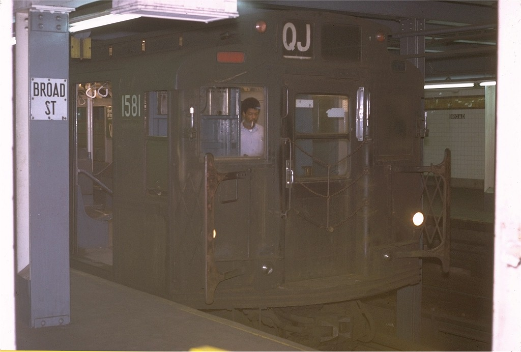 (124k, 1024x692)<br><b>Country:</b> United States<br><b>City:</b> New York<br><b>System:</b> New York City Transit<br><b>Line:</b> BMT Nassau Street-Jamaica Line<br><b>Location:</b> Broad Street<br><b>Route:</b> QJ<br><b>Car:</b> R-7A (Pullman, 1938) 1581 <br><b>Photo by:</b> Joe Testagrose<br><b>Date:</b> 9/20/1970<br><b>Viewed (this week/total):</b> 0 / 5387