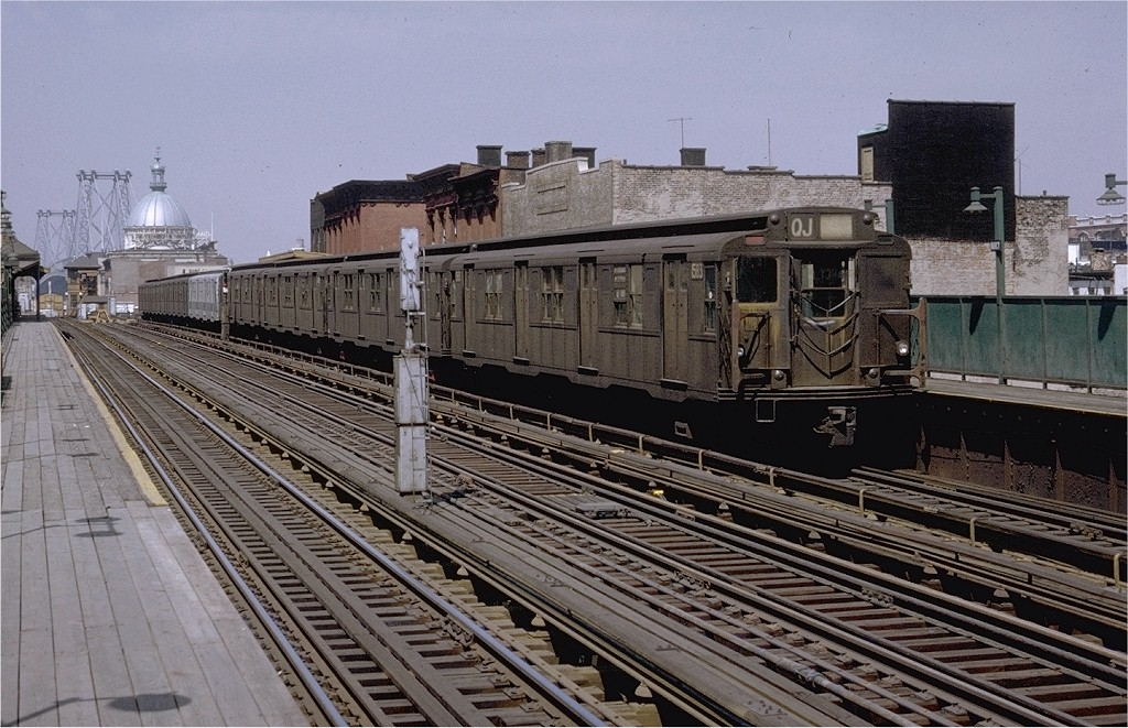 (231k, 1024x661)<br><b>Country:</b> United States<br><b>City:</b> New York<br><b>System:</b> New York City Transit<br><b>Line:</b> BMT Nassau Street/Jamaica Line<br><b>Location:</b> Marcy Avenue <br><b>Route:</b> QJ<br><b>Car:</b> R-7A (Pullman, 1938)  1583 <br><b>Photo by:</b> Doug Grotjahn<br><b>Collection of:</b> Joe Testagrose<br><b>Date:</b> 4/24/1971<br><b>Viewed (this week/total):</b> 2 / 2922
