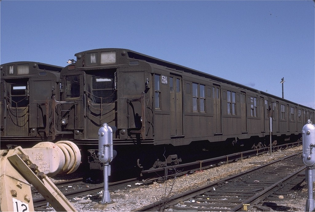 (222k, 1024x689)<br><b>Country:</b> United States<br><b>City:</b> New York<br><b>System:</b> New York City Transit<br><b>Location:</b> Fresh Pond Yard<br><b>Car:</b> R-7A (Pullman, 1938)  1584 <br><b>Photo by:</b> Joe Testagrose<br><b>Date:</b> 3/27/1971<br><b>Viewed (this week/total):</b> 2 / 3976