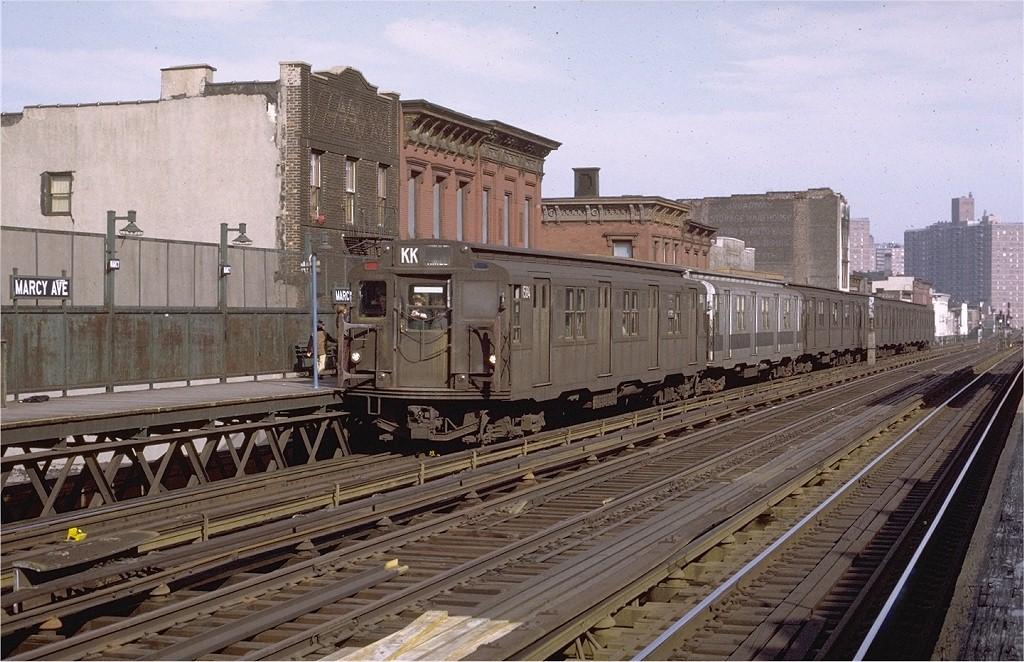 (223k, 1024x662)<br><b>Country:</b> United States<br><b>City:</b> New York<br><b>System:</b> New York City Transit<br><b>Line:</b> BMT Nassau Street/Jamaica Line<br><b>Location:</b> Marcy Avenue <br><b>Route:</b> KK<br><b>Car:</b> R-7A (Pullman, 1938)  1584 <br><b>Photo by:</b> Joe Testagrose<br><b>Date:</b> 4/9/1971<br><b>Viewed (this week/total):</b> 0 / 2570