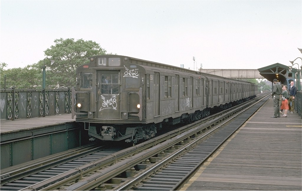 (172k, 1024x649)<br><b>Country:</b> United States<br><b>City:</b> New York<br><b>System:</b> New York City Transit<br><b>Line:</b> BMT Canarsie Line<br><b>Location:</b> Livonia Avenue<br><b>Route:</b> L<br><b>Car:</b> R-7A (Pullman, 1938) 1584 <br><b>Photo by:</b> Joe Testagrose<br><b>Date:</b> 5/26/1974<br><b>Viewed (this week/total):</b> 2 / 3904