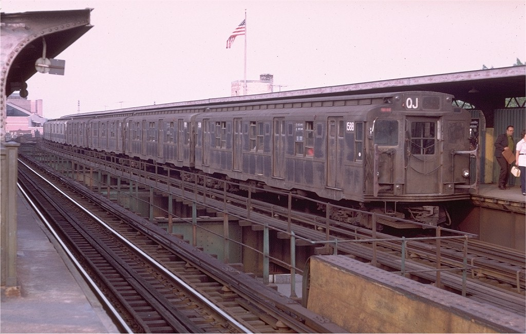 (174k, 1024x650)<br><b>Country:</b> United States<br><b>City:</b> New York<br><b>System:</b> New York City Transit<br><b>Line:</b> BMT Nassau Street/Jamaica Line<br><b>Location:</b> Woodhaven Boulevard <br><b>Route:</b> QJ<br><b>Car:</b> R-7A (Pullman, 1938)  1588 <br><b>Photo by:</b> Doug Grotjahn<br><b>Collection of:</b> Joe Testagrose<br><b>Date:</b> 6/28/1972<br><b>Viewed (this week/total):</b> 7 / 4260