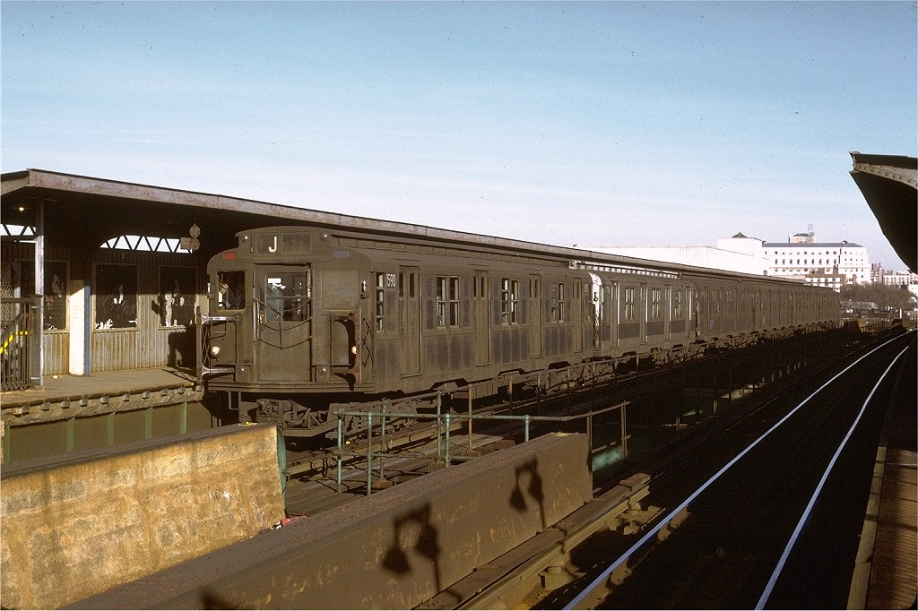 (212k, 1024x682)<br><b>Country:</b> United States<br><b>City:</b> New York<br><b>System:</b> New York City Transit<br><b>Line:</b> BMT Nassau Street/Jamaica Line<br><b>Location:</b> Metropolitan Avenue (Demolished) <br><b>Route:</b> J<br><b>Car:</b> R-7A (Pullman, 1938)  1590 <br><b>Photo by:</b> Joe Testagrose<br><b>Date:</b> 6/21/1973<br><b>Viewed (this week/total):</b> 5 / 4559