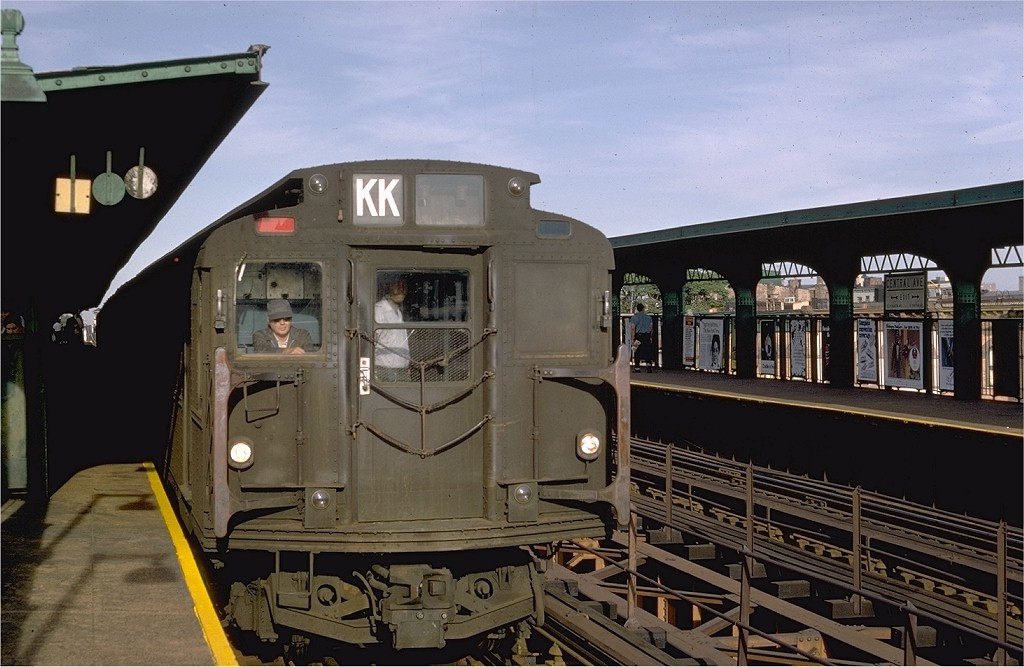 (179k, 1024x667)<br><b>Country:</b> United States<br><b>City:</b> New York<br><b>System:</b> New York City Transit<br><b>Line:</b> BMT Myrtle Avenue Line<br><b>Location:</b> Central Avenue <br><b>Route:</b> KK<br><b>Car:</b> R-7A (Pullman, 1938)  1590 <br><b>Photo by:</b> Doug Grotjahn<br><b>Collection of:</b> Joe Testagrose<br><b>Date:</b> 8/15/1968<br><b>Viewed (this week/total):</b> 0 / 3812