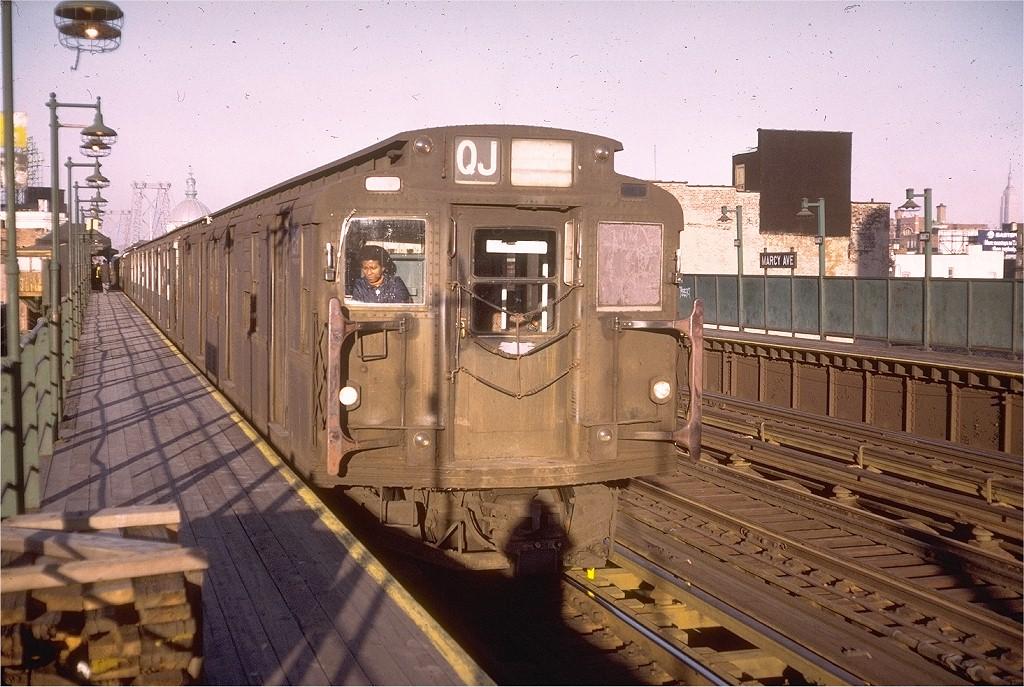(232k, 1024x687)<br><b>Country:</b> United States<br><b>City:</b> New York<br><b>System:</b> New York City Transit<br><b>Line:</b> BMT Nassau Street/Jamaica Line<br><b>Location:</b> Marcy Avenue <br><b>Route:</b> QJ<br><b>Car:</b> R-7A (Pullman, 1938)  1591 <br><b>Collection of:</b> Joe Testagrose<br><b>Date:</b> 12/29/1972<br><b>Viewed (this week/total):</b> 2 / 3438