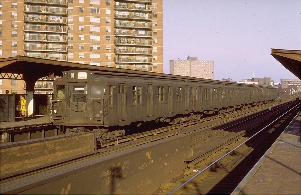 (208k, 1024x666)<br><b>Country:</b> United States<br><b>City:</b> New York<br><b>System:</b> New York City Transit<br><b>Line:</b> BMT Nassau Street/Jamaica Line<br><b>Location:</b> Lorimer Street <br><b>Route:</b> M<br><b>Car:</b> R-7A (Pullman, 1938)  1593 <br><b>Photo by:</b> Joe Testagrose<br><b>Date:</b> 6/1/1971<br><b>Viewed (this week/total):</b> 2 / 2430