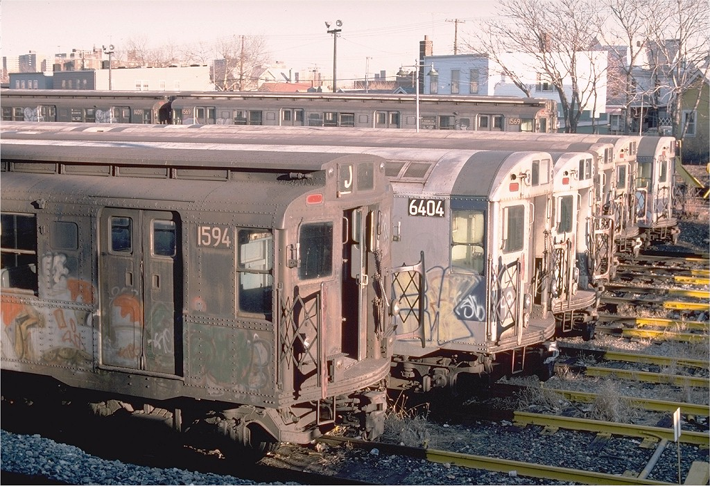 (276k, 1024x701)<br><b>Country:</b> United States<br><b>City:</b> New York<br><b>System:</b> New York City Transit<br><b>Location:</b> Rockaway Parkway (Canarsie) Yard<br><b>Car:</b> R-7A (Pullman, 1938)  1594 <br><b>Photo by:</b> Ed McKernan<br><b>Collection of:</b> Joe Testagrose<br><b>Date:</b> 12/24/1976<br><b>Viewed (this week/total):</b> 2 / 4943