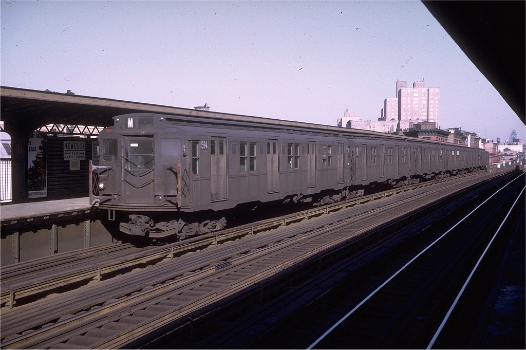 (187k, 1024x681)<br><b>Country:</b> United States<br><b>City:</b> New York<br><b>System:</b> New York City Transit<br><b>Line:</b> BMT Nassau Street/Jamaica Line<br><b>Location:</b> Hewes Street <br><b>Route:</b> M<br><b>Car:</b> R-7A (Pullman, 1938)  1594 <br><b>Photo by:</b> Doug Grotjahn<br><b>Collection of:</b> Joe Testagrose<br><b>Date:</b> 5/26/1969<br><b>Viewed (this week/total):</b> 0 / 2616