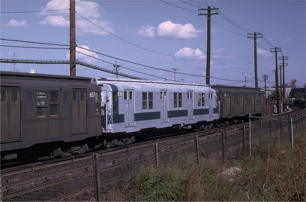 (218k, 1024x675)<br><b>Country:</b> United States<br><b>City:</b> New York<br><b>System:</b> New York City Transit<br><b>Line:</b> BMT Canarsie Line<br><b>Location:</b> East 105th Street <br><b>Route:</b> L<br><b>Car:</b> R-7A (Pullman, 1938)  1598 <br><b>Collection of:</b> Joe Testagrose<br><b>Date:</b> 10/4/1970<br><b>Viewed (this week/total):</b> 1 / 3196