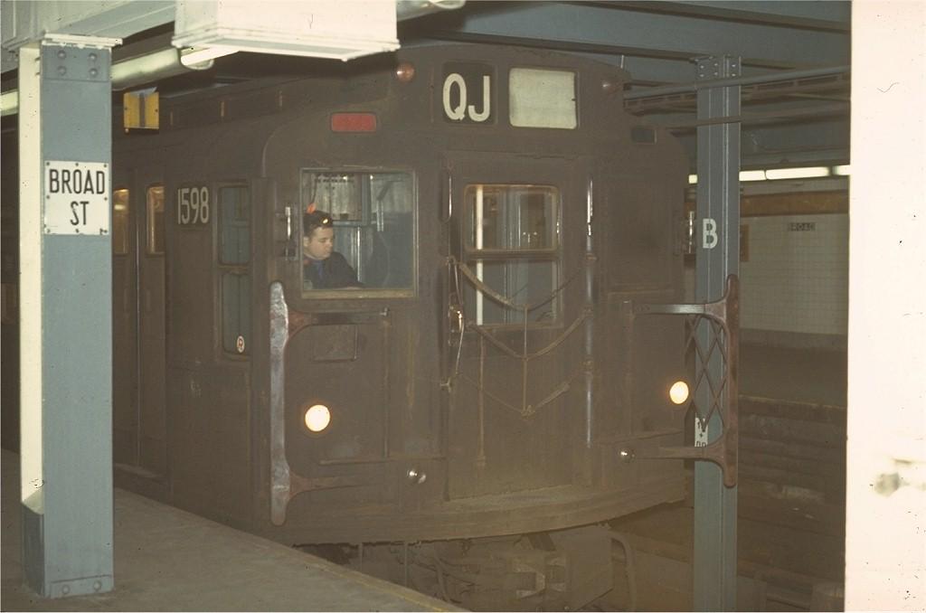 (119k, 1024x678)<br><b>Country:</b> United States<br><b>City:</b> New York<br><b>System:</b> New York City Transit<br><b>Line:</b> BMT Nassau Street/Jamaica Line<br><b>Location:</b> Broad Street <br><b>Route:</b> QJ<br><b>Car:</b> R-7A (Pullman, 1938)  1598 <br><b>Collection of:</b> Joe Testagrose<br><b>Date:</b> 4/5/1970<br><b>Viewed (this week/total):</b> 0 / 4556