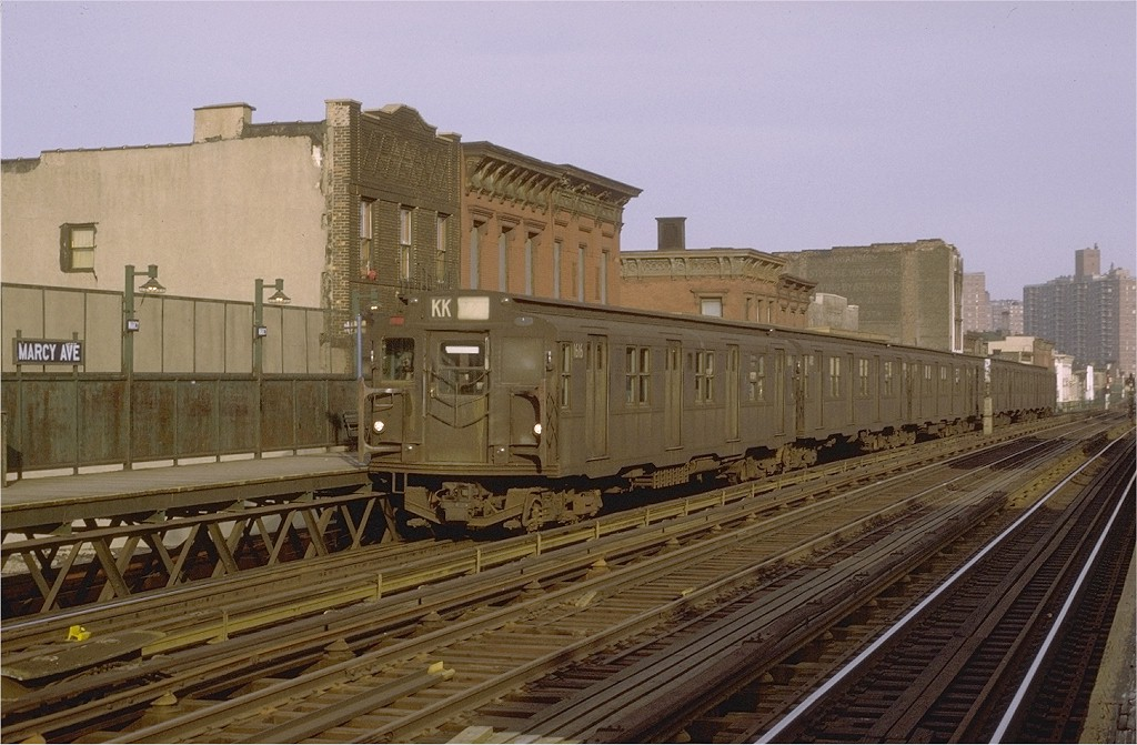 (193k, 1024x671)<br><b>Country:</b> United States<br><b>City:</b> New York<br><b>System:</b> New York City Transit<br><b>Line:</b> BMT Nassau Street/Jamaica Line<br><b>Location:</b> Marcy Avenue <br><b>Route:</b> KK<br><b>Car:</b> R-7A (American Car & Foundry, 1938)  1616 <br><b>Photo by:</b> Joe Testagrose<br><b>Date:</b> 4/9/1971<br><b>Viewed (this week/total):</b> 0 / 2794