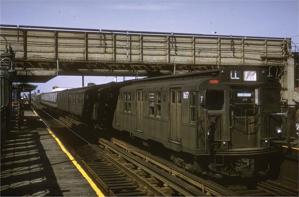 (212k, 1024x676)<br><b>Country:</b> United States<br><b>City:</b> New York<br><b>System:</b> New York City Transit<br><b>Line:</b> BMT Canarsie Line<br><b>Location:</b> Livonia Avenue <br><b>Route:</b> L<br><b>Car:</b> R-7A (American Car & Foundry, 1938)  1617 <br><b>Photo by:</b> Joe Testagrose<br><b>Date:</b> 3/6/1971<br><b>Viewed (this week/total):</b> 3 / 2955