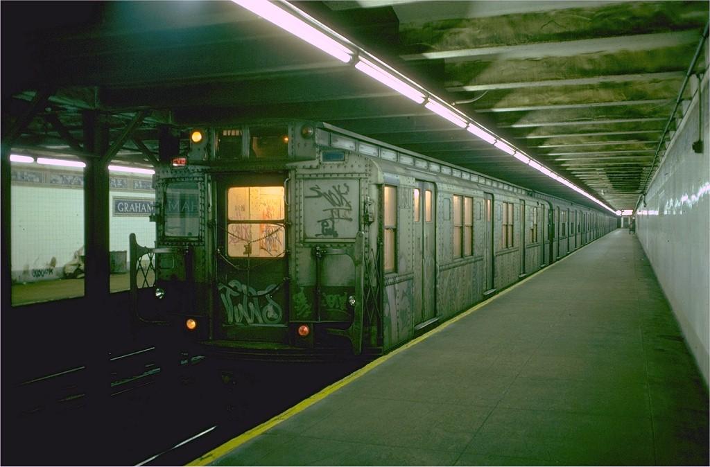 (170k, 1024x674)<br><b>Country:</b> United States<br><b>City:</b> New York<br><b>System:</b> New York City Transit<br><b>Line:</b> BMT Canarsie Line<br><b>Location:</b> Graham Avenue <br><b>Route:</b> L<br><b>Car:</b> R-7A (American Car & Foundry, 1938)  1631 <br><b>Photo by:</b> Doug Grotjahn<br><b>Collection of:</b> Joe Testagrose<br><b>Date:</b> 11/2/1976<br><b>Viewed (this week/total):</b> 2 / 5880