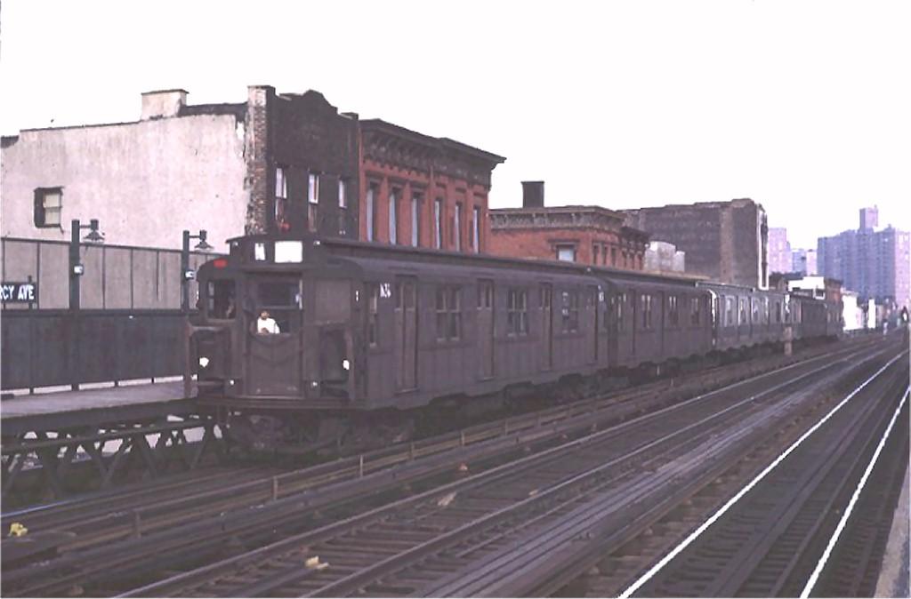 (111k, 1024x674)<br><b>Country:</b> United States<br><b>City:</b> New York<br><b>System:</b> New York City Transit<br><b>Line:</b> BMT Nassau Street/Jamaica Line<br><b>Location:</b> Marcy Avenue <br><b>Route:</b> M<br><b>Car:</b> R-7A (American Car & Foundry, 1938)  1634 <br><b>Photo by:</b> Joe Testagrose<br><b>Date:</b> 4/9/1971<br><b>Viewed (this week/total):</b> 0 / 2749