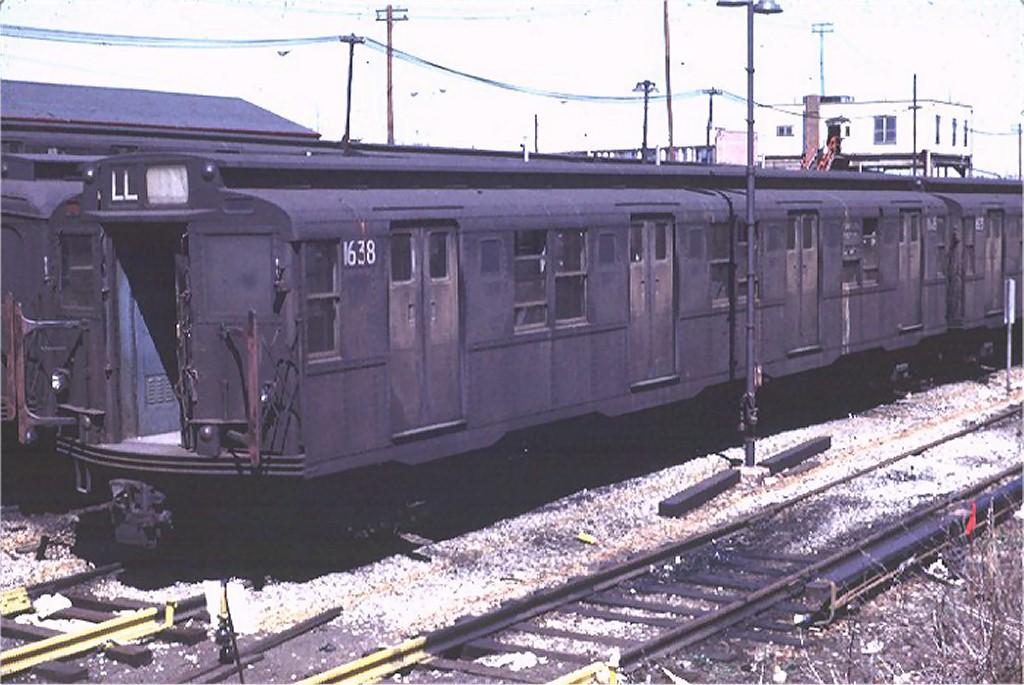 (182k, 1024x685)<br><b>Country:</b> United States<br><b>City:</b> New York<br><b>System:</b> New York City Transit<br><b>Location:</b> Rockaway Parkway (Canarsie) Yard<br><b>Car:</b> R-7A (American Car & Foundry, 1938)  1638 <br><b>Photo by:</b> Joe Testagrose<br><b>Date:</b> 4/12/1969<br><b>Viewed (this week/total):</b> 0 / 2970
