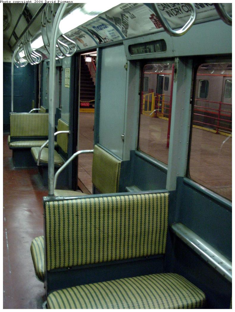 (131k, 790x1047)<br><b>Country:</b> United States<br><b>City:</b> New York<br><b>System:</b> New York City Transit<br><b>Location:</b> New York Transit Museum<br><b>Car:</b> R-7A (Pullman, 1938)  1575 <br><b>Photo by:</b> David Pirmann<br><b>Date:</b> 3/12/2000<br><b>Notes:</b> R10 prototype, interior<br><b>Viewed (this week/total):</b> 0 / 4180