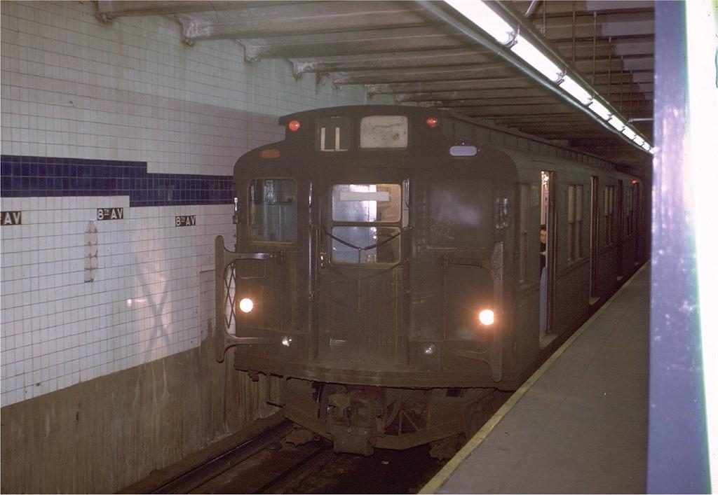 (164k, 1024x707)<br><b>Country:</b> United States<br><b>City:</b> New York<br><b>System:</b> New York City Transit<br><b>Line:</b> BMT Canarsie Line<br><b>Location:</b> 8th Avenue <br><b>Route:</b> L<br><b>Car:</b> R-9 (Pressed Steel, 1940)  1706 <br><b>Photo by:</b> Steve Zabel<br><b>Collection of:</b> Joe Testagrose<br><b>Date:</b> 1/23/1971<br><b>Viewed (this week/total):</b> 0 / 3522