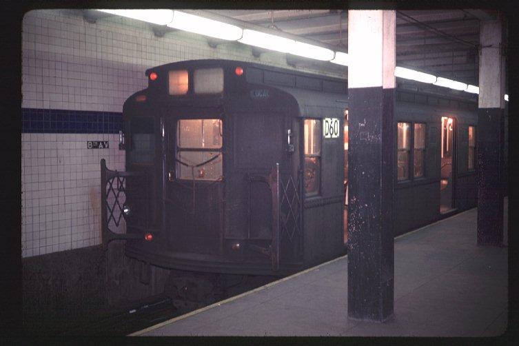 (52k, 753x502)<br><b>Country:</b> United States<br><b>City:</b> New York<br><b>System:</b> New York City Transit<br><b>Line:</b> BMT Canarsie Line<br><b>Location:</b> 8th Avenue <br><b>Route:</b> L<br><b>Car:</b> R-9 (American Car & Foundry, 1940)  D60 (ex-1711)<br><b>Photo by:</b> Doug Grotjahn<br><b>Collection of:</b> Joe Testagrose<br><b>Date:</b> 2/27/1969<br><b>Viewed (this week/total):</b> 3 / 3215