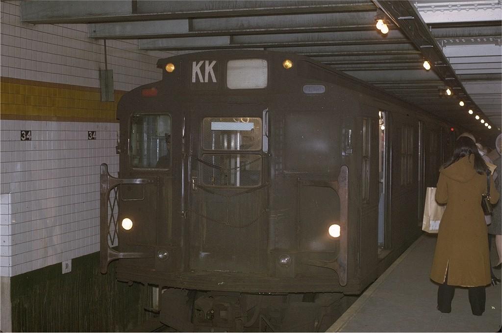 (175k, 1024x680)<br><b>Country:</b> United States<br><b>City:</b> New York<br><b>System:</b> New York City Transit<br><b>Line:</b> IND 6th Avenue Line<br><b>Location:</b> 34th Street/Herald Square <br><b>Route:</b> KK<br><b>Car:</b> R-9 (Pressed Steel, 1940)  1714 <br><b>Photo by:</b> Joe Testagrose<br><b>Date:</b> 12/1/1970<br><b>Viewed (this week/total):</b> 1 / 4136