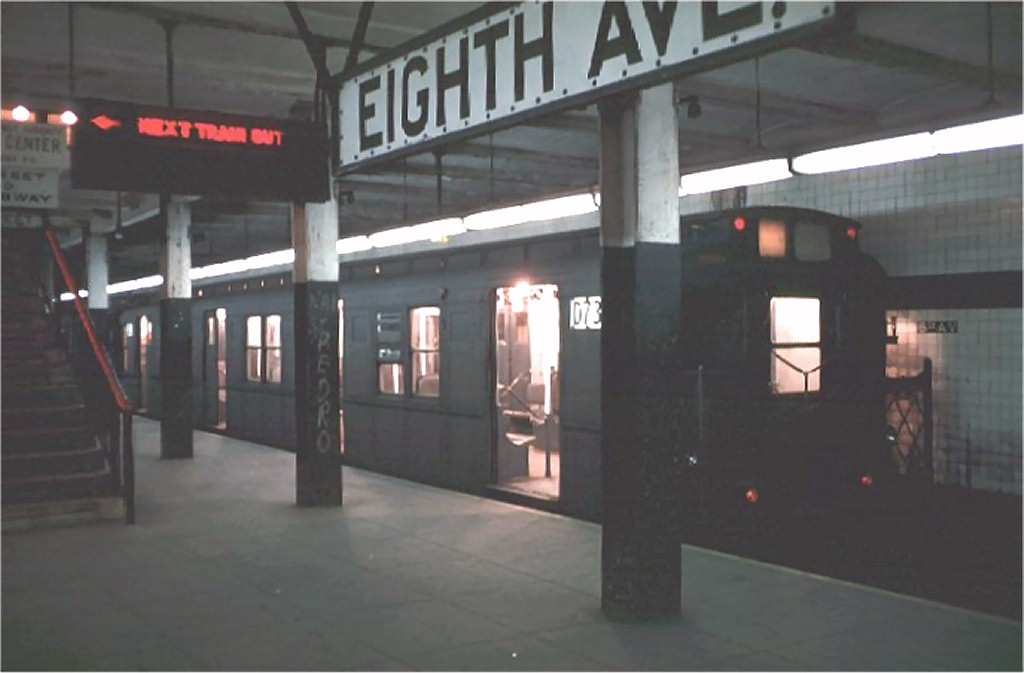 (108k, 1024x673)<br><b>Country:</b> United States<br><b>City:</b> New York<br><b>System:</b> New York City Transit<br><b>Line:</b> BMT Canarsie Line<br><b>Location:</b> 8th Avenue <br><b>Route:</b> L<br><b>Car:</b> R-9 (American Car & Foundry, 1940)  D73 (ex-1715)<br><b>Photo by:</b> Doug Grotjahn<br><b>Collection of:</b> Joe Testagrose<br><b>Date:</b> 2/27/1969<br><b>Viewed (this week/total):</b> 2 / 4429