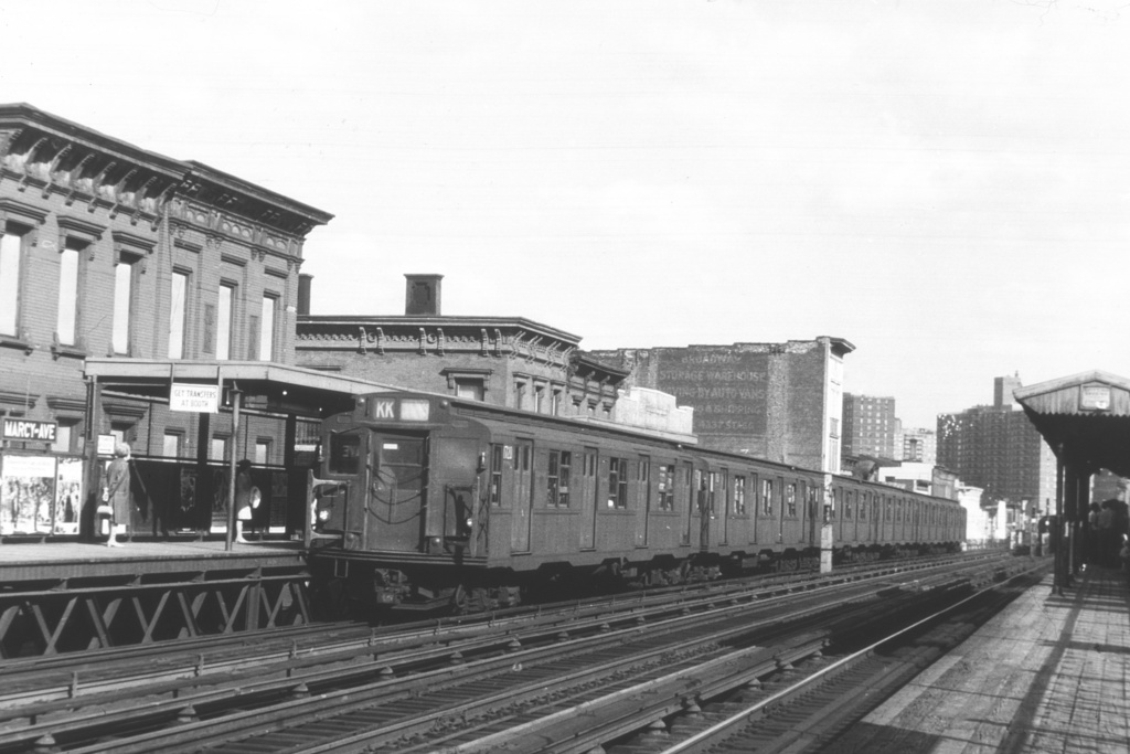 (206k, 1024x683)<br><b>Country:</b> United States<br><b>City:</b> New York<br><b>System:</b> New York City Transit<br><b>Line:</b> BMT Nassau Street/Jamaica Line<br><b>Location:</b> Marcy Avenue <br><b>Route:</b> KK<br><b>Car:</b> R-9 (Pressed Steel, 1940)  1720 <br><b>Collection of:</b> David Pirmann<br><b>Viewed (this week/total):</b> 0 / 3323